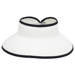 Sun N' Sand Womens Solid Trim Straw Visor