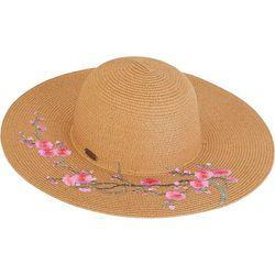 Sun N' Sand Womens Floral Paper Braid Sun Hat