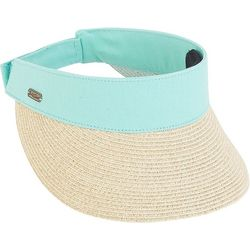 Sun N' Sand Womens Color Bands Straw Visor
