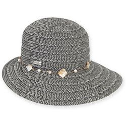 Sun N' Sand Womens Black Shell Sun Savor Hat