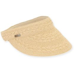 Sun N' Sand Womens Braided Straw Visor