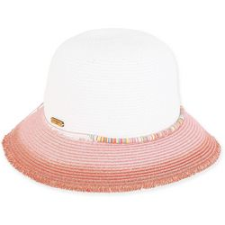 Caribbean Joe Womens Ombre Brim Paper Braid Sun Hat
