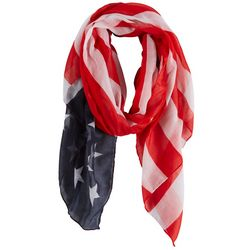 Americana Womens Oblong Stars & Stripes Scarf