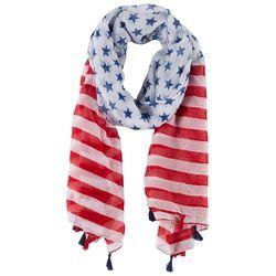 Americana Womens Stars & Stripes Tassel Scarf