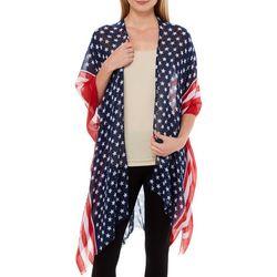 Americana Womens Oblong Stars & Stripes Kimono