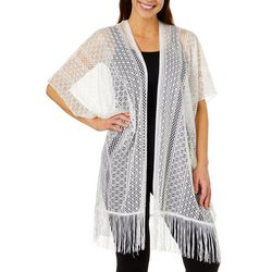 Twig And Arrow Womens Mesh Fringe Kimono