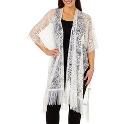 Twig And Arrow Womens Lace Fringe Kimono