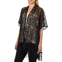 Twig And Arrow Womens Floral Lace Fringe Kimono