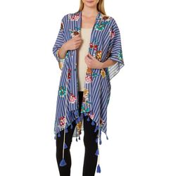 Twig And Arrow Womens Floral Stripe Kimono