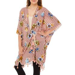 Twig And Arrow Womens Mixed Floral Stripe Kimono