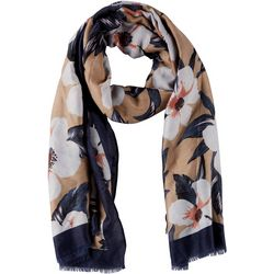 Basha Womens White Floral Scarf