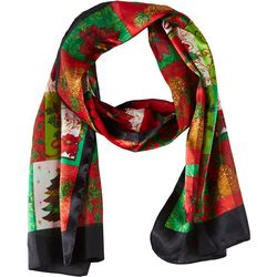Basha Womens Poinsettia & Holly Scarf