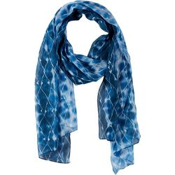 Basha Womens Diamond Pattern & Tie Dye Scarf