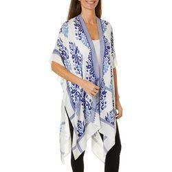 Cejon Accessories Womens Damask Print Kimono