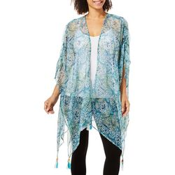 Cejon Accessories Womens Abstract Print Tassel Kimono