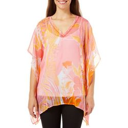 Cejon Accessories Womens Sheer Floral Print Top
