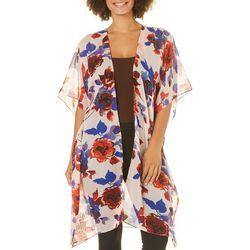 Betseyville Womens Floral Print Sheer Kimono