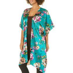 Steve Madden Womens Floral Print Short Sleeve Kimono