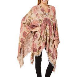 Betseyville Womens Rose Print Fringe Trim Kimono