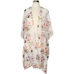 Betseyville Womens Garden Floral Print Sheer Kimono