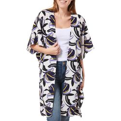 Steve Madden Womens Abstract Print Short Sleeve Kimono