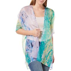 Betseyville Womens Abstract Splatter Sheer Kimono