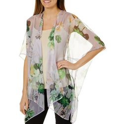 Betseyville Womens Lilac Burnout Floral Sheer Kimono