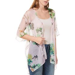 Betseyville Womens Burnout Floral Sheer Kimono
