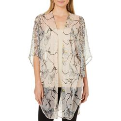 Cejon Accessories Womens Iris Floral Print Sheer Kimono