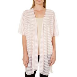 Cejon Accessories Womens Striped Print Sheer Kimono