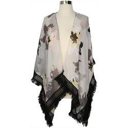 Cejon Accessories Womens Floral Fringe Trim Kimono
