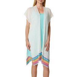 Steve Madden Womens Rainbow Border Print Short Sleeve Kimono