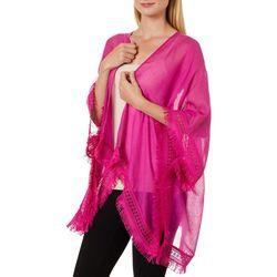 Cejon Accessories Womens Solid Fringe Trim Kimono