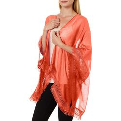 Cejon Accessories Womens Solid Fringe Trim Kimono