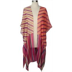 Cejon Accessories Womens Mixed Stripes Kimono