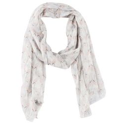 Betseyville Womens Cream Flamingo Kiss Scarf