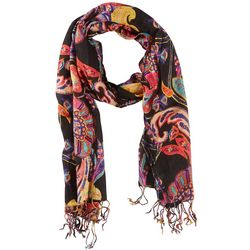 Betseyville Womens Black Paisley Print Scarf