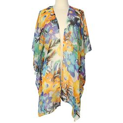 Cejon Accessories Womens Tropical Floral Print Kimono
