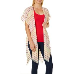Cejon Accessories Womens Stripes & Fringe Kimono