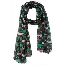 Cejon Accessories Womens Christmas Tree & Snowmen Scarf