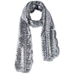 Betsey Johnson Womens Sequins Scalloped Scarf