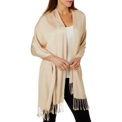 Jones New York Womens Solid Fringe Scarf