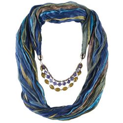 Jessica McClintock Womens Blue Striped Beaded Scarf