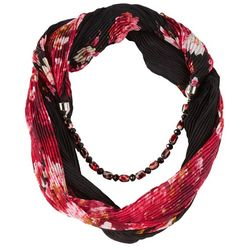 Jessica McClintock Womens Pleated Floral Beaded Scarf