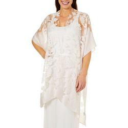 Jessica McClintock Womens Floral Burnout Sheer Kimono