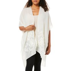 Jessica McClintock Womens Floral Embroidered Sheer Kimono