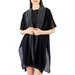 Jessica McClintock Womens Rhinestone Sheer Kimono