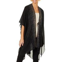 Jessica McClintock Womens Patterned Embellished Trim Kimono