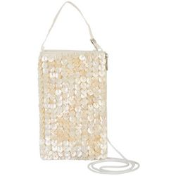Bamboo Trading Co. Capiz Flower Club Crossbody Handbag