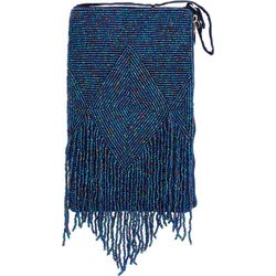 Bamboo Trading Co. Blue Fringe Club Bag Crossbody Handbag
